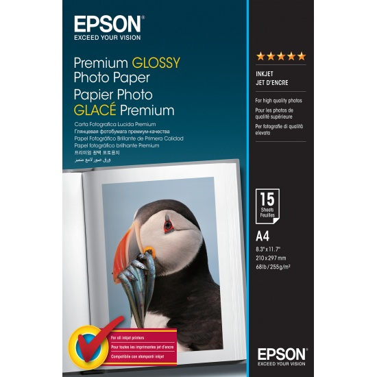 Epson Premium A4 Glossy Photo Paper - 15 Sheets Image