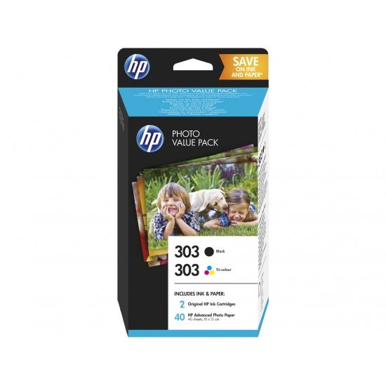 HP 303 Tri-Color Black, Cyan, Magenta, Yellow Ink Cartridge with Glossy 4x6 Photo Value Pack - 40 Sheets Image