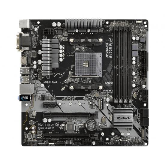 Asrock B450M PRO4 AMD B450 AM4 Micro ATX DDR4-SDRAM Motherboard Image