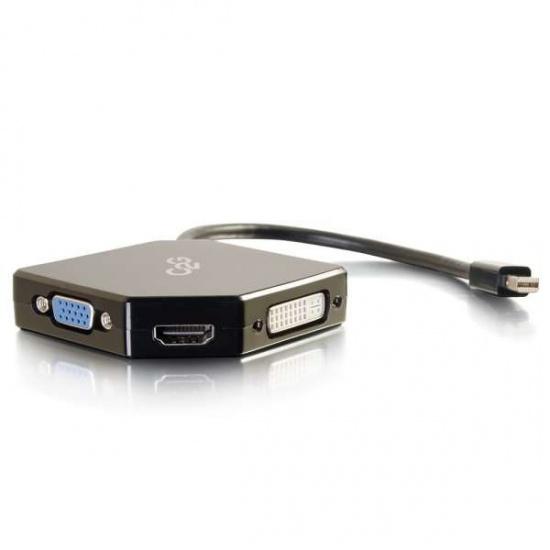 C2G 54341 Mini DisplayPort to HDMI, VGA, DVI Adapter - Black Image