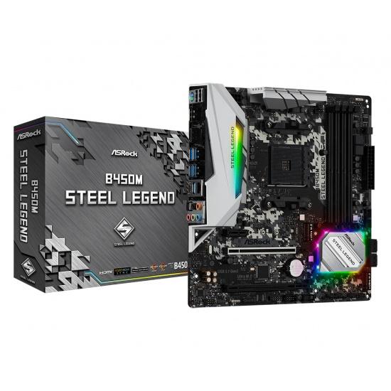 Asrock Steel Legend AM4 AMD B450M Micro ATX DDR4-SDRAM Motherboard Image