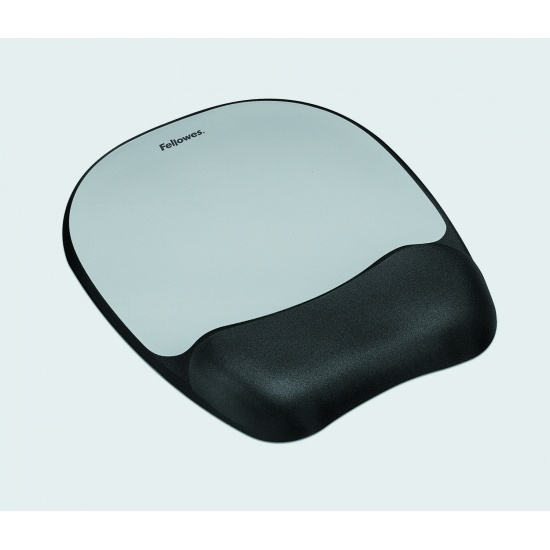 Fellowes Memory Foam Mouse Pad with Wrist Rest - Silver, Black Image