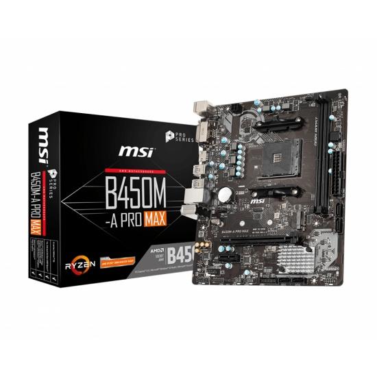 MSI B450M-A Pro Max AMD B450 AM4 Micro ATX DDR4-SDRAM Motherboard Image
