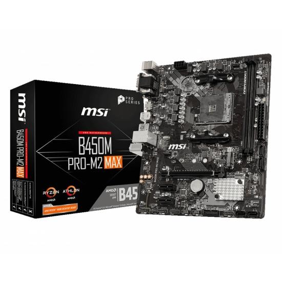 MSI B450M PRO-M2 MAX AMD B450 AM4 Micro ATX DDR4-SDRAM Motherboard Image