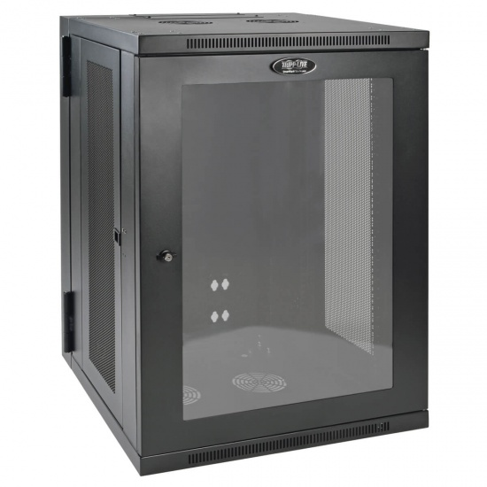 Tripp Lite 19 Inch 18U Wall Mountable Rack Enclosure Server Cabinet w Hinged Acrylic Window - Black Image