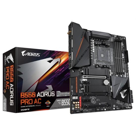 Gigabyte AORUS PRO AC AMD B550 Socket AM4 ATX DDR4-SDRAM Motherboard Image