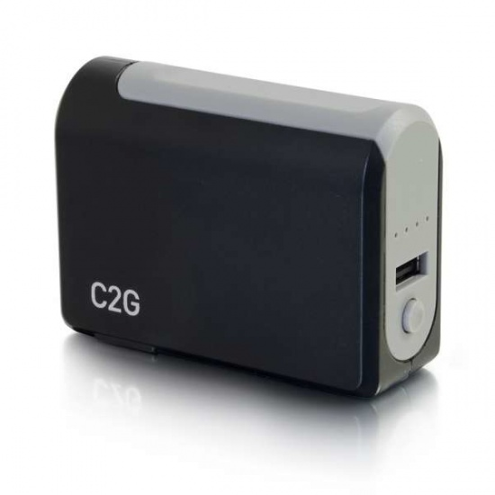 3000mAh C2G 1 Port AC to USB Adapter with Power Bank - Black Image