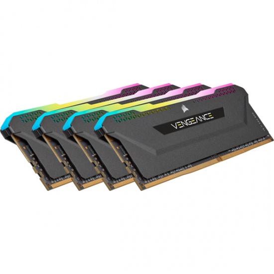 32GB Corsair Vengeance 3200MHz DDR4 Quad Memory Kit (4 x 8GB) - Black Image