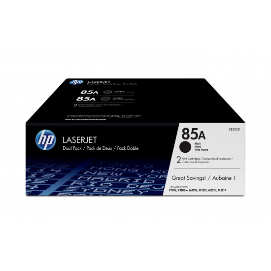HP LaserJet Toner Cartridge - 85A - CE285AD - (Dual Pack) Black -  1600 Page Yield Image