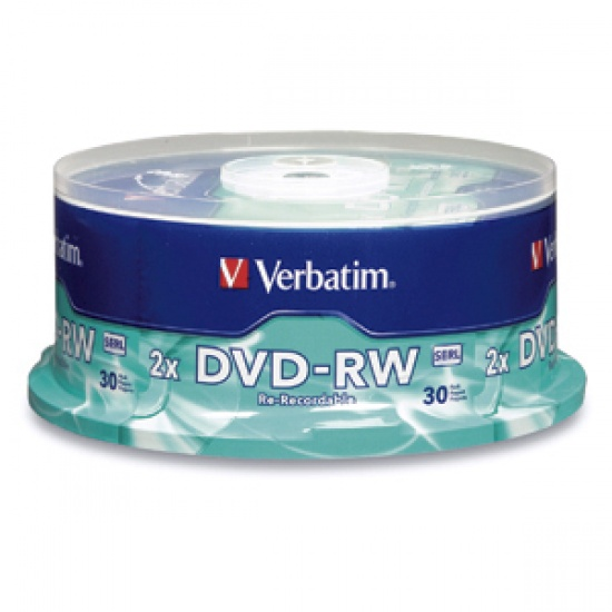 Verbatim DVD-RW Media 4x 4.7GB 30-Pack Spindle Image