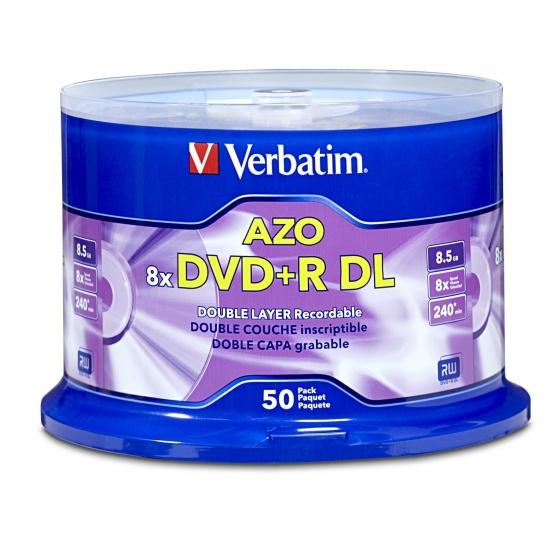 Verbatim DVD+R DL 8.5GB 8X Branded 50-Pack Spindle Image