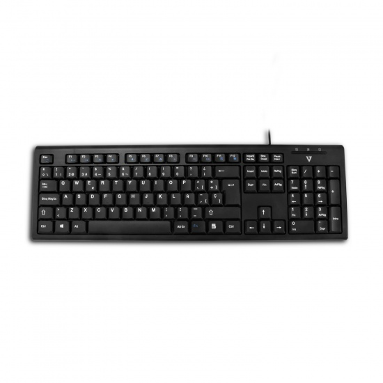 V7 USB Wired  QWERTY Keyboard and Mouse - Spanish Layout Image