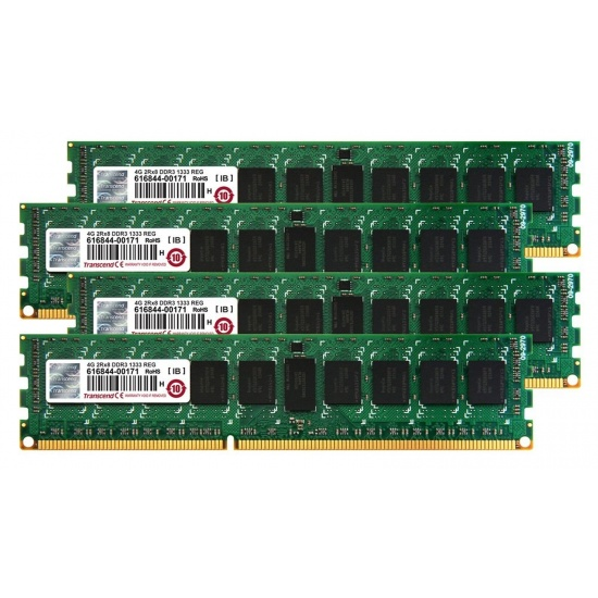 16GB Transcend DDR3 Apple RAM 1333MHz ECC Registered Quad Channel Kit (4x4GB) For Mac Pro Early 2009 Image