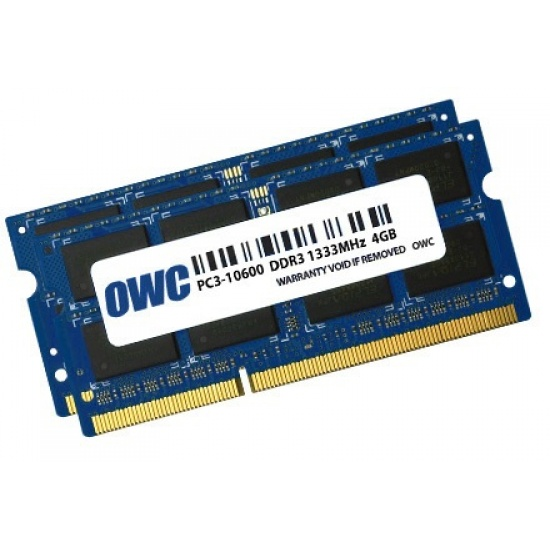 OWC 8GB Dual Channel SO-DIMM PC3-10600 DDR3 1333MHz SO-DIMM 204 Pin CL9 (2x 4GB) Image