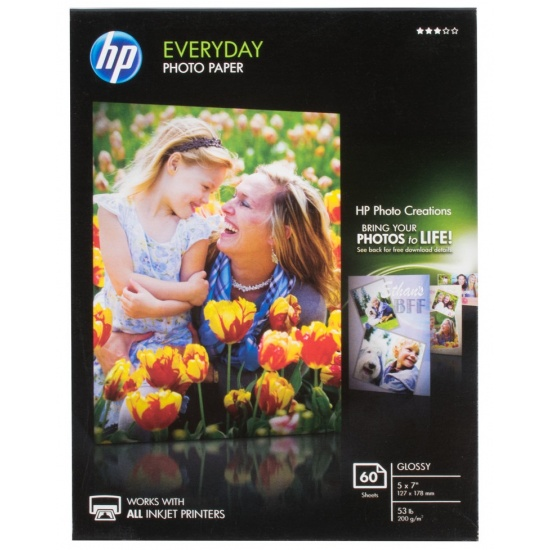 HP Glossy 5x7 Everyday Photo Paper - 60 sheets Image