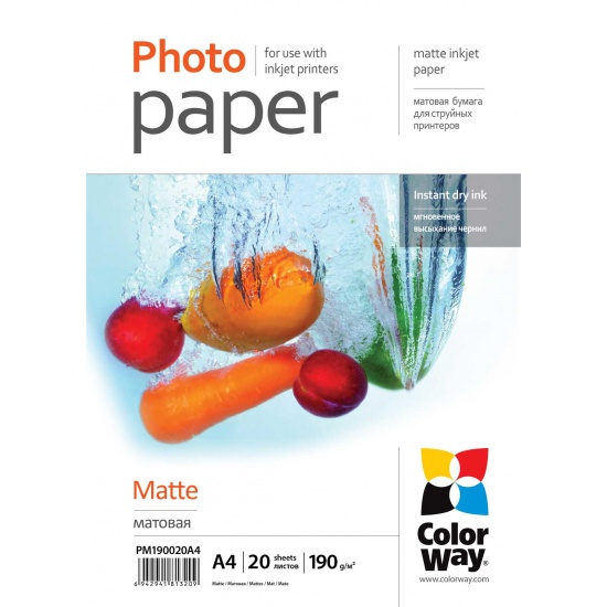 ColorWay Matte A4 8.5x11 Photo Paper 20 sheets Image