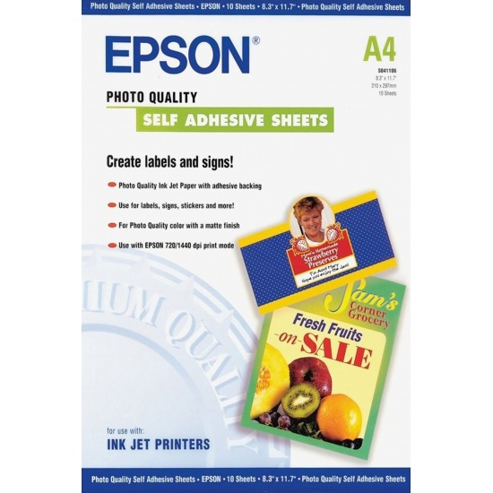 Epson Matte A4 8.3x11.7 Self-Adhesive Photo Paper - 10 sheets Image