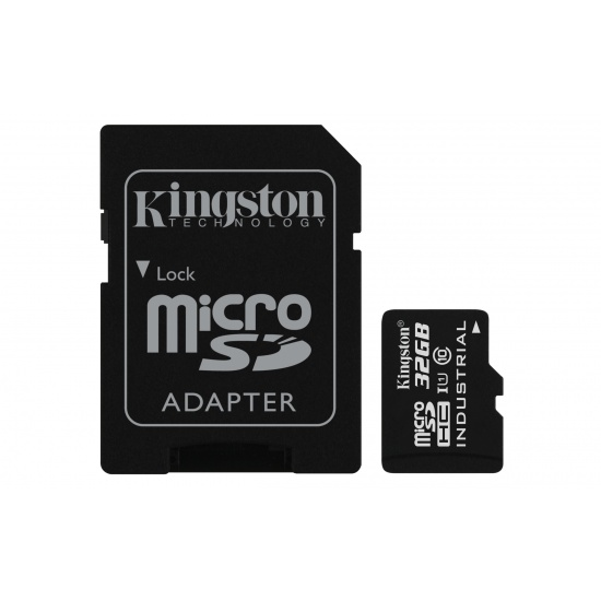 32GB Kingston Industrial Temperature microSDHC CL10 UHS-1 U1 Memory Card w/Adapter Image