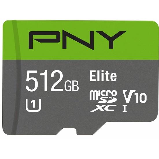 512GB PNY Elite microSDXC UHS-1 U1 V10 Memory Card w/Adapter Image