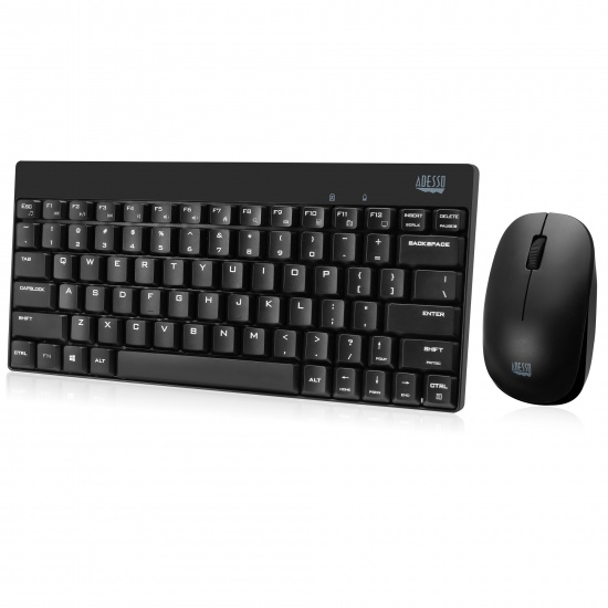 Adesso Wireless Optical Spill Resistant Mini Mouse and Keyboard Combo - US English Layout Image