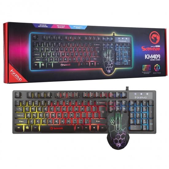 Marvo Scorpion KM409 LED USB Wired Optical Gaming Mouse and Keyboard Combo - UK English Layout Image