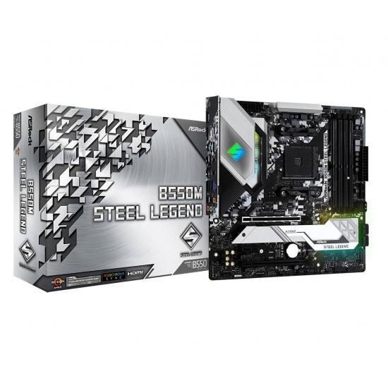ASRock Steel Legend B550M AMD Micro-ATX DDR4-SDRAM Motherboard Image