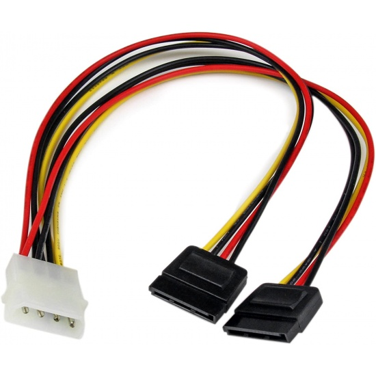 Startech 1ft LP4 to 2x SATA Power Adapter Cable Image