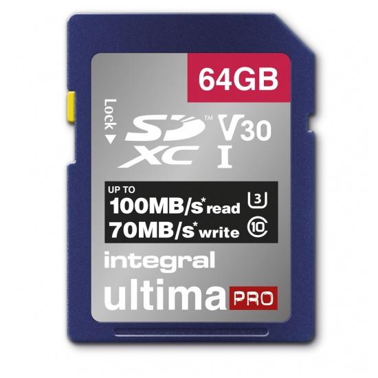 64GB Integral Ultima Pro SDXC 100MB/s CL10 UHS-1 U3 V30 Memory Card Image