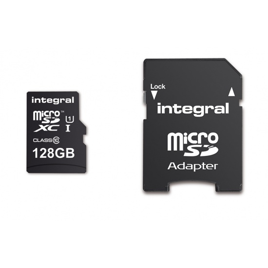 128GB Integral Ultima Pro microSDXC CL10 (90MB/s) High-Speed Memory Card w/Adapter Image
