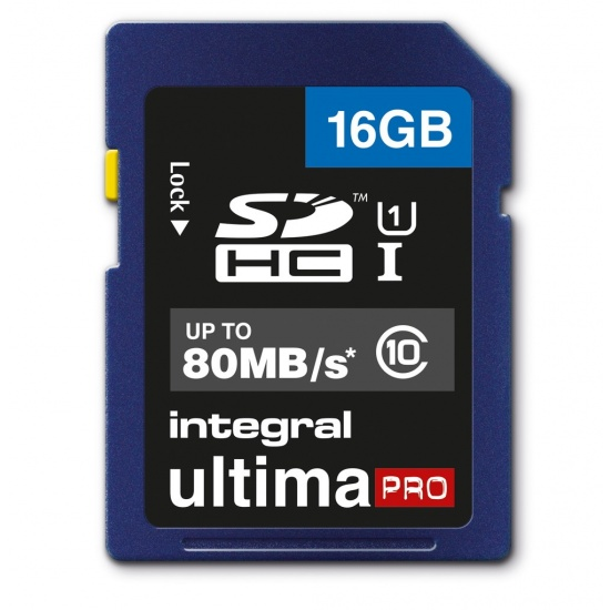 16GB Integral Ultima Pro SDHC 80MB/sec CL10 UHS-1 Memory Card Image