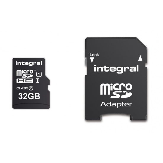 32GB Integral Ultima Pro microSDHC CL10 (90MB/s) High-Speed Memory Card w/Adapter Image