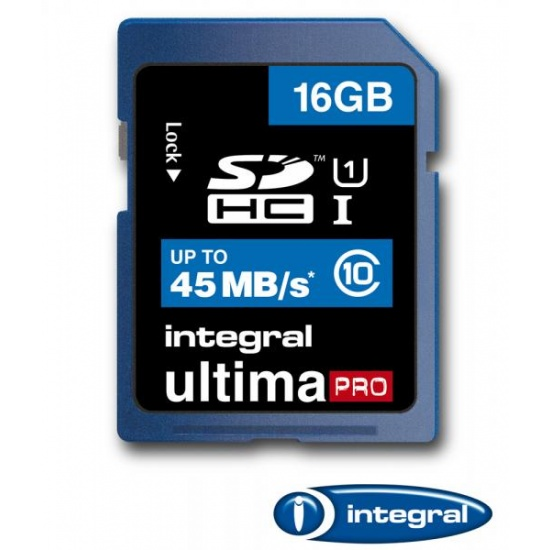 16GB Integral Ultima Pro SDHC 45MB/sec CL10 High-Speed (UHS-1) memory card Image