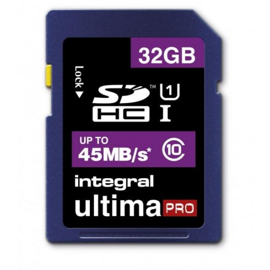 32GB Integral Ultima Pro SDHC 45MB/sec CL10 UHS-1 High-Speed memory card Image