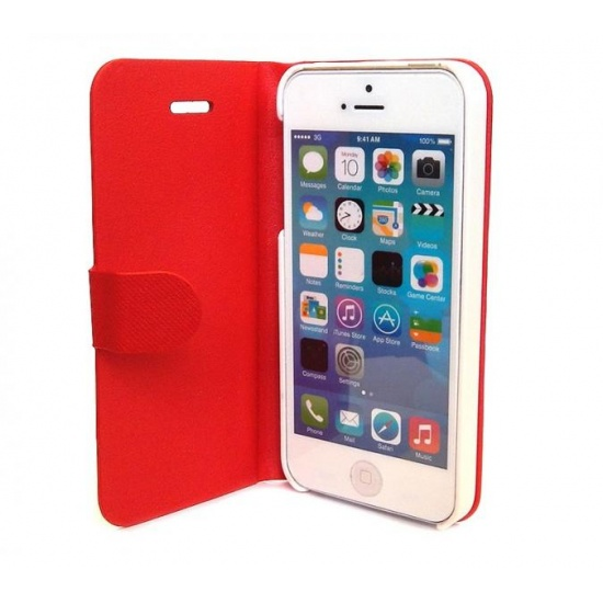 Red iPhone 5 Flip Cover with Auto-Sleep Function Image