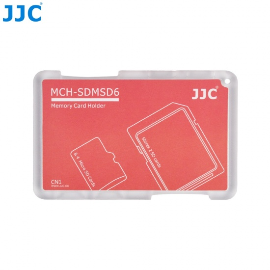 JJC Memory Card Case for 4x microSD + 2x SD Cards - Red Edition - MCH-SDMSD6 Image
