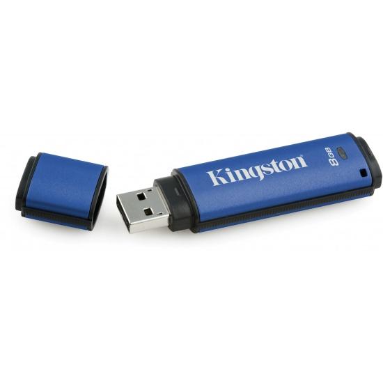 8GB Kingston DataTraveler Vault Privacy 256-bit AES Encrypted USB3.0 Flash Drive Image
