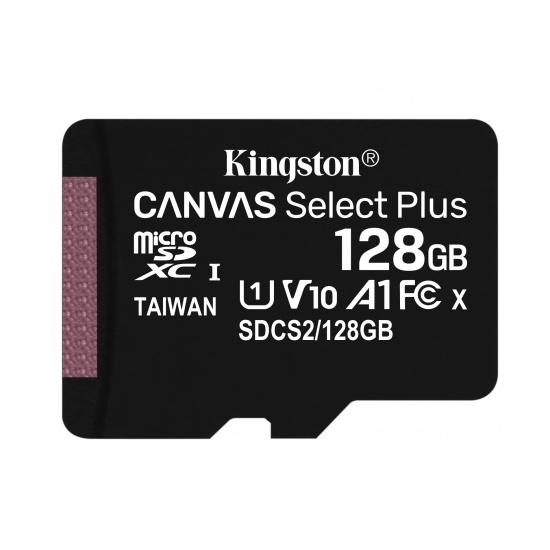 128GB Kingston Canvas Select Plus microSDXC CL10 UHS-1 U1 V10 A1 Memory Card Image