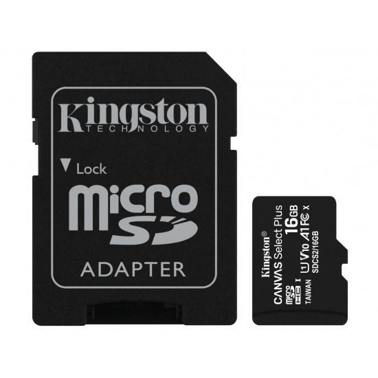 16GB Kingston Canvas Select Plus microSDHC CL10 UHS-1 U1 V10 A1 Memory Card w/Adapter Image