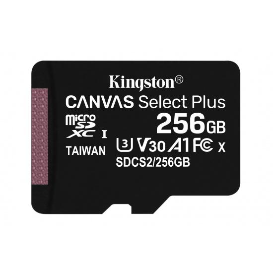 256GB Kingston Canvas Select Plus microSDXC CL10 UHS-1 U3 V30 A1 Memory Card Image