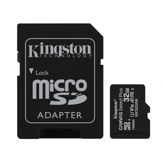 32GB Kingston Canvas Select Plus microSDHC CL10 UHS-1 U1 V10 A1 Memory Card w/Adapter Image