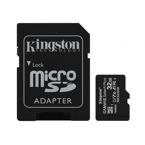 32GB Kingston Canvas Select Plus microSDHC CL10 UHS-1 U1 V10 A1 Memory Card w/Adapter - 2 Pack Image