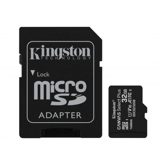 32GB Kingston Canvas Select Plus microSDHC CL10 UHS-1 U1 V10 A1 Memory Card w/Adapter - 3 Pack Image