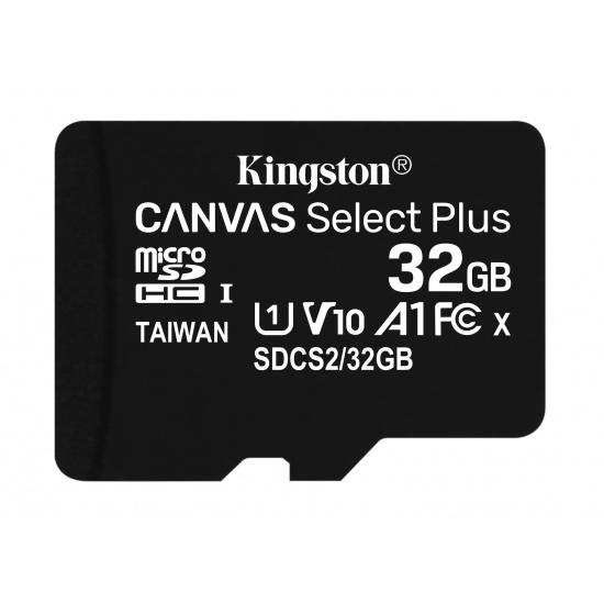 32GB Kingston Canvas Select Plus microSDHC CL10 UHS-1 U1 V10 A1 Memory Card Image