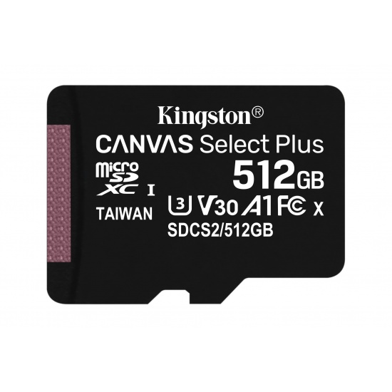 512GB Kingston Canvas Select Plus microSDXC CL10 UHS-1 U3 V30 A1 Memory Card Image