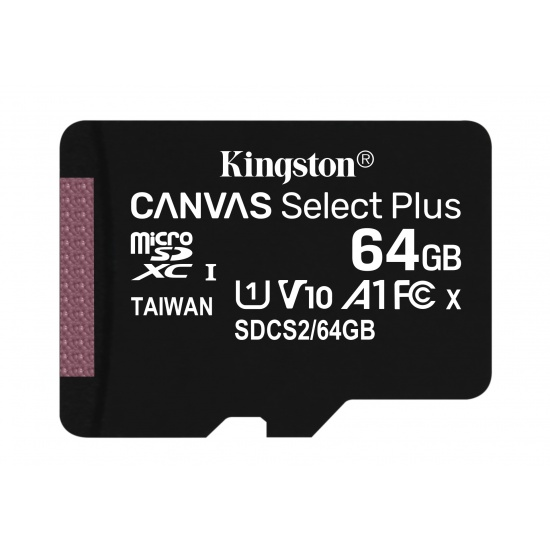 64GB Kingston Canvas Select Plus microSDXC CL10 UHS-1 U1 V10 A1 Memory Card Image