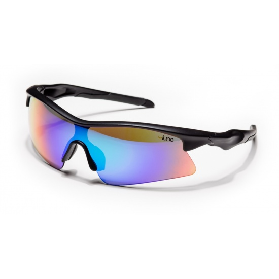 Luna Eclipse Running Cycling Sunglasses with Hard Protective Case (Mirrored Aquamarine Lenses, Black Frame) Image