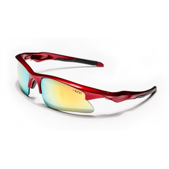 Luna Mars Running Cycling Sunglasses with Hard Protective Case (Mirrored Gold Lenses, Deep Red Frame) Image