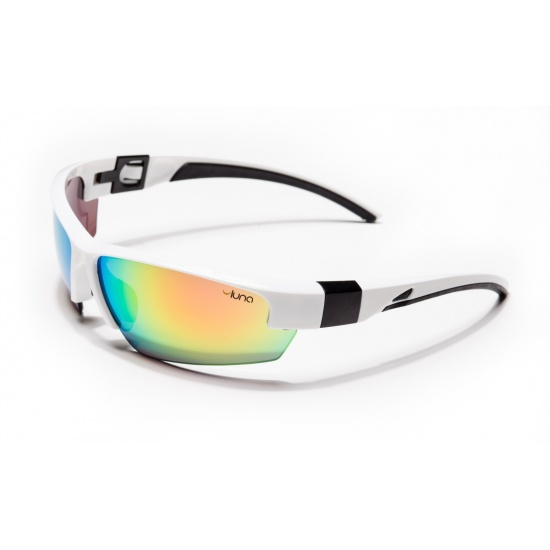 Luna Mercury Running Cycling Sunglasses with Hard Protective Case (Mirrored Lenses, White/Black Frame) Image