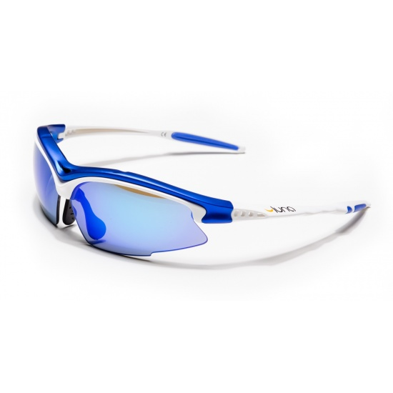 Luna Sky Running Cycling Sunglasses with Hard Protective Case (Mirrored Blue Lenses, White/Blue Frame) with Gray Interchangeable Lenses Image