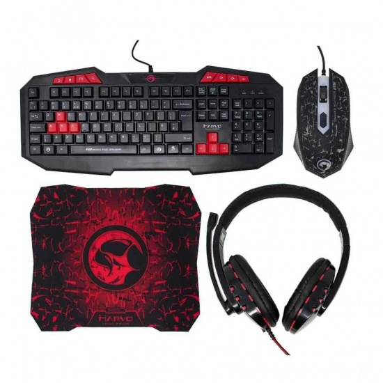 Marvo Scorpion CM375 Gaming Mouse, Mouse Pad, Headset, and Keyboard Pack Image